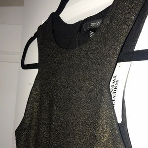 NEW!Forever 21 black and gold bodycon dress NWT